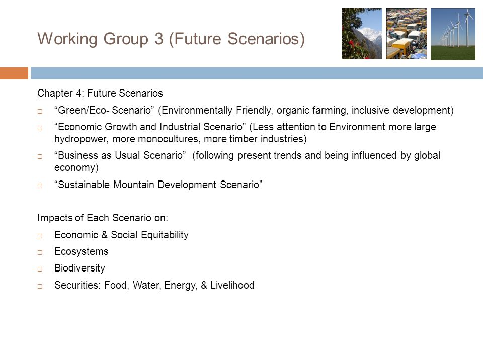 Working Group 3 (Future Scenarios) Chapter 4: Future Scenarios  Green/Eco- Scenario (Environmentally Friendly, organic farming, inclusive development)  Economic Growth and Industrial Scenario (Less attention to Environment more large hydropower, more monocultures, more timber industries)  Business as Usual Scenario (following present trends and being influenced by global economy)  Sustainable Mountain Development Scenario Impacts of Each Scenario on:  Economic & Social Equitability  Ecosystems  Biodiversity  Securities: Food, Water, Energy, & Livelihood