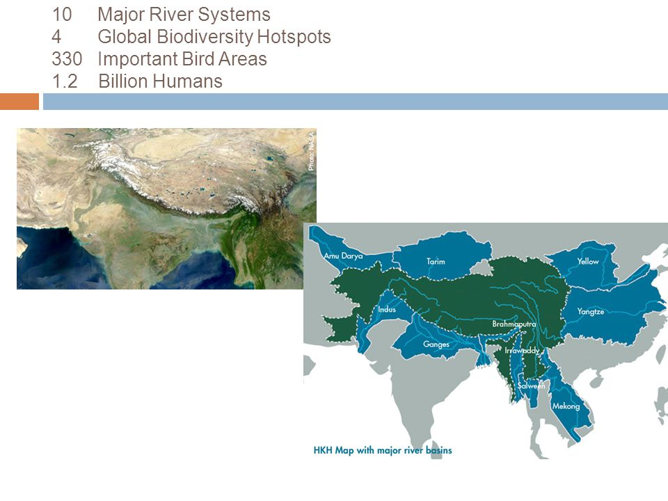 10 Major River Systems 4 Global Biodiversity Hotspots 330 Important Bird Areas 1.2 Billion Humans