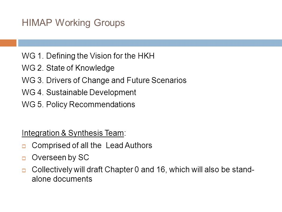 HIMAP Working Groups WG 1. Defining the Vision for the HKH WG 2.