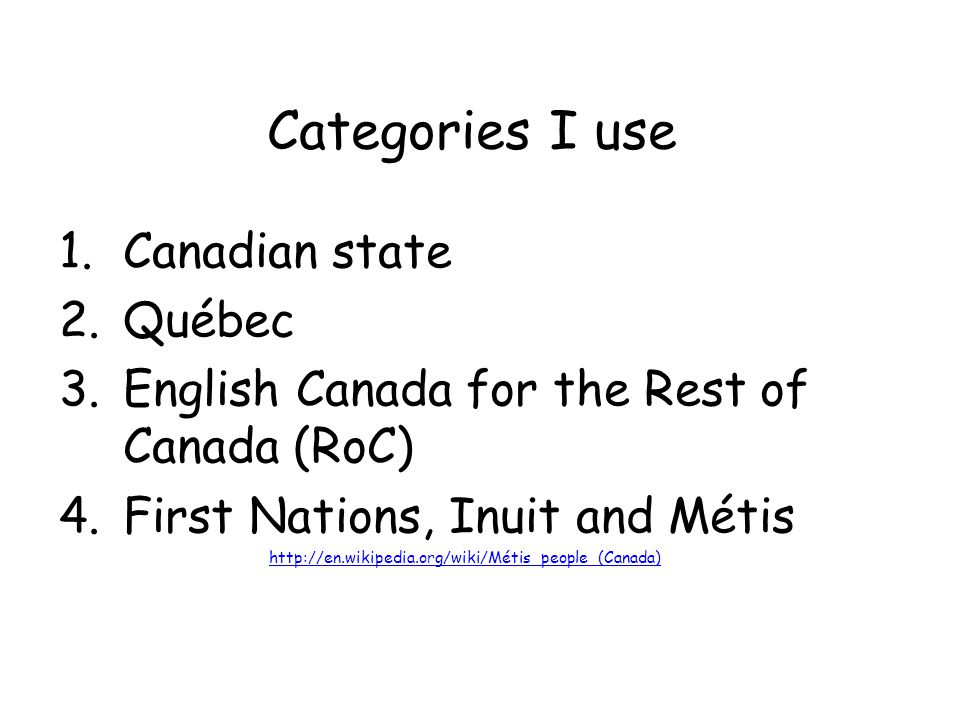 Categories I use 1.Canadian state 2.Québec 3.English Canada for the Rest of Canada (RoC) 4.First Nations, Inuit and Métis http://en.wikipedia.org/wiki/Métis_people_(Canada)