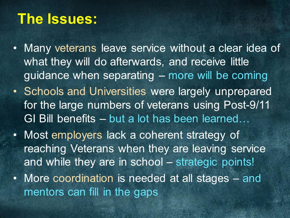 The 21st Century Student Veteran Support Center: Coordinating Mentors in Virtual and Interpersonal Space * *As Delivered, with Speaker comments in the