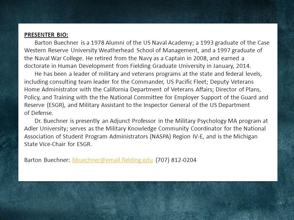 Barton Buechner, PhD CAPT, USN (ret) bbuechner@adler.edu (707) 812-0204 Dave Cass, CEO, UVIZE dave@uvize.com
