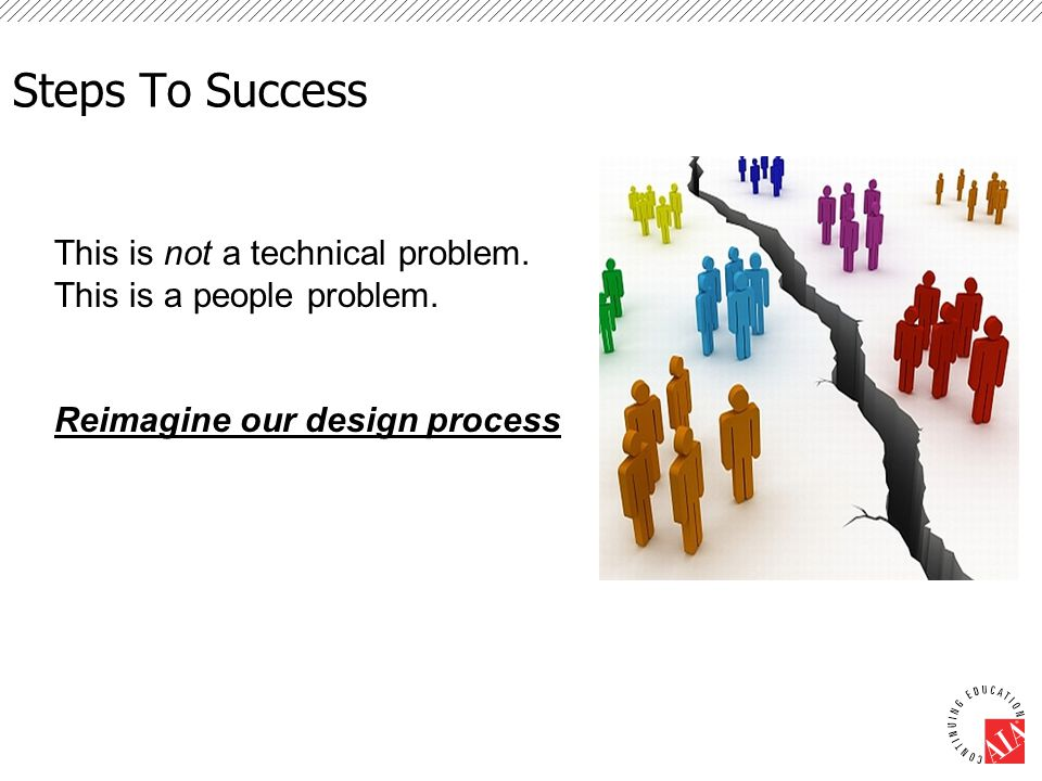 Steps To Success This is not a technical problem. This is a people problem. Reimagine our design process
