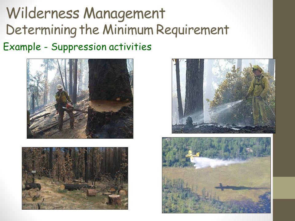 Wilderness Management Determining the Minimum Requirement Example - Suppression activities
