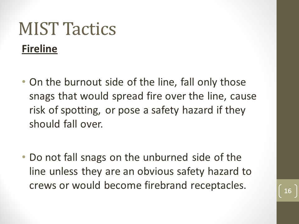 MIST Tactics Fireline On the burnout side of the line, fall only those snags that would spread fire over the line, cause risk of spotting, or pose a s
