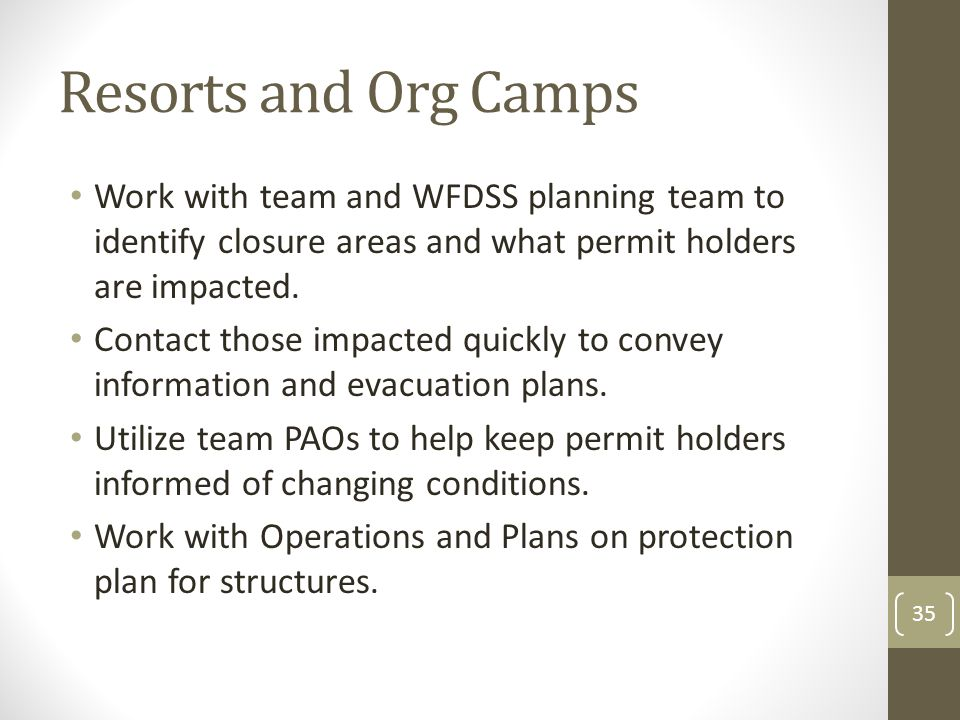 Resorts and Org Camps Work with team and WFDSS planning team to identify closure areas and what permit holders are impacted. Contact those impacted qu