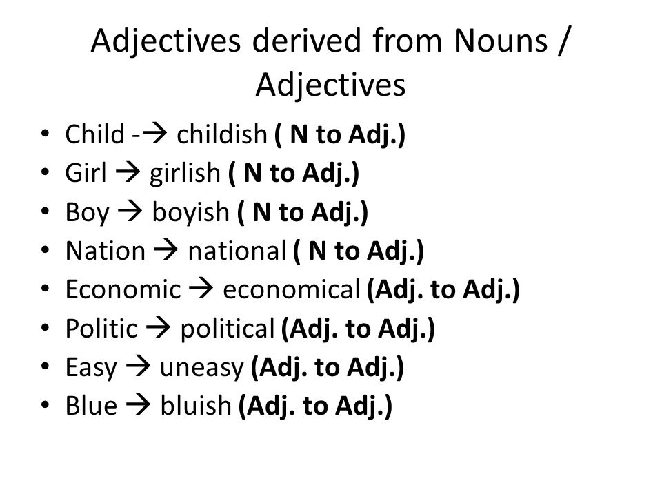 Nouns derived from adjectives/Nouns Deep  depth(adj.