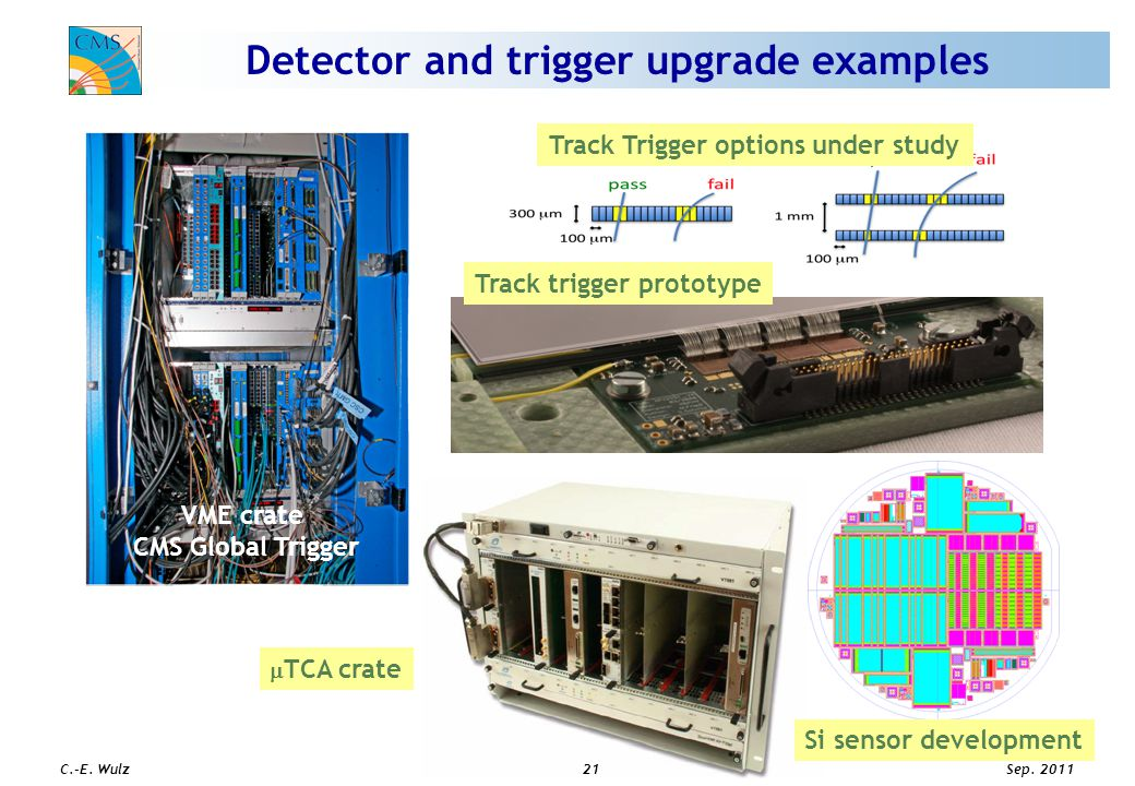 Sep. 2011 C.-E. Wulz21 Detector and trigger upgrade examples  TCA crate Track Trigger options under study VME crate CMS Global Trigger Track trigger