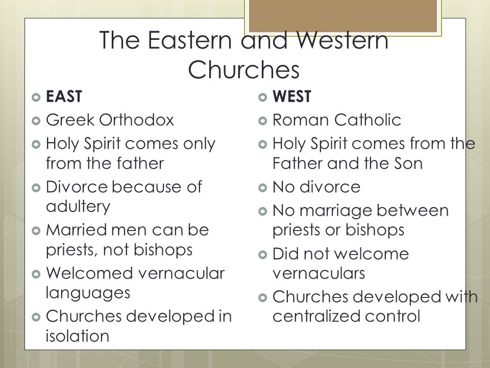 The Eastern and Western Churches  EAST  Greek Orthodox  Holy Spirit comes only from the father  Divorce because of adultery  Married men can be priests, not bishops  Welcomed vernacular languages  Churches developed in isolation  WEST  Roman Catholic  Holy Spirit comes from the Father and the Son  No divorce  No marriage between priests or bishops  Did not welcome vernaculars  Churches developed with centralized control