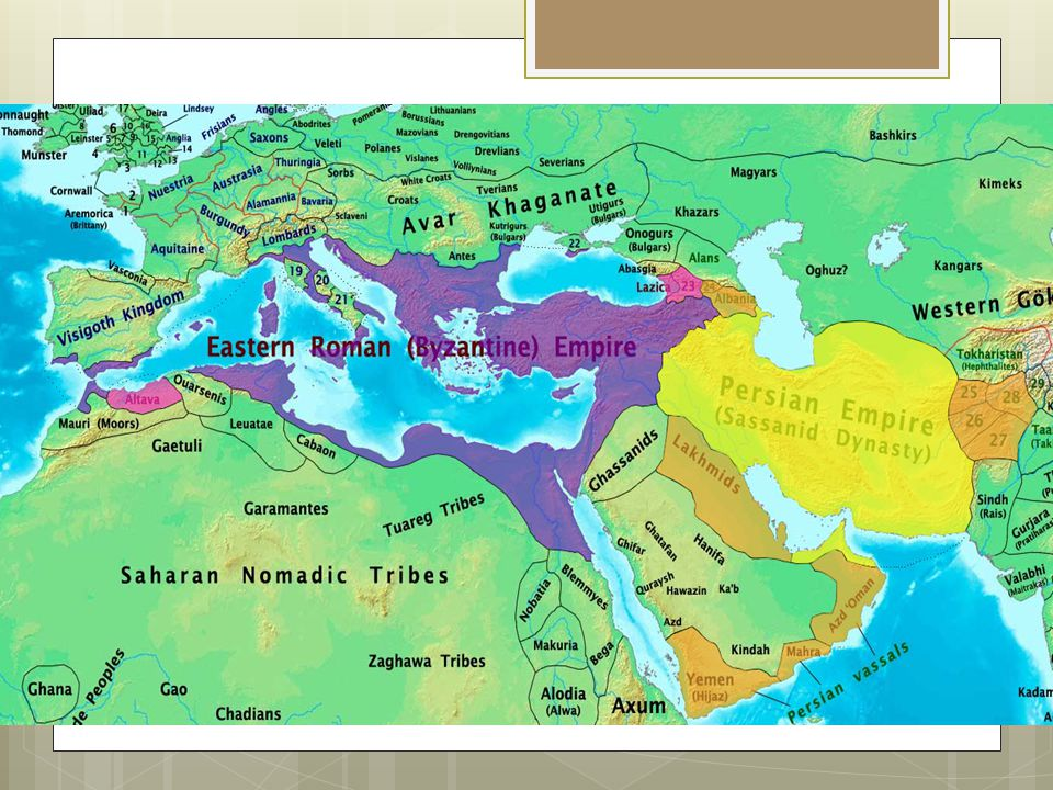 Heraclius  Came to power amid military disaster  Avars, Slavs, and Persians were all attacking the empire at once  Raised enough money from the church to wage war on the Persians in 622  This left the army financially depleted and the military was exhausted