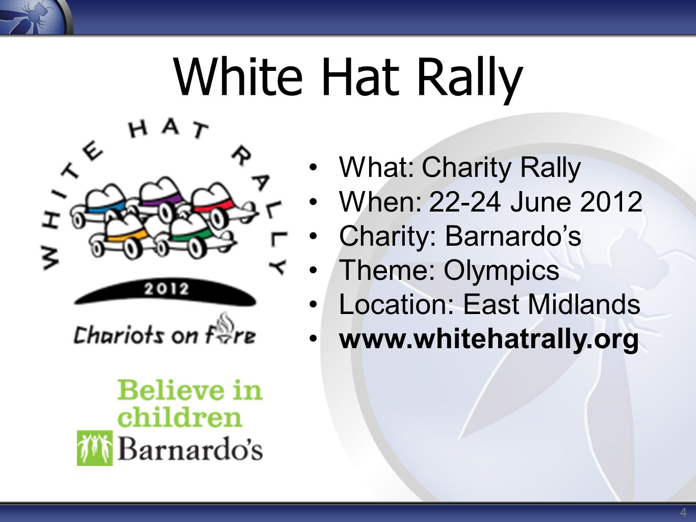 White Hat Rally 4 What: Charity Rally When: 22-24 June 2012 Charity: Barnardo's Theme: Olympics Location: East Midlands www.whitehatrally.org
