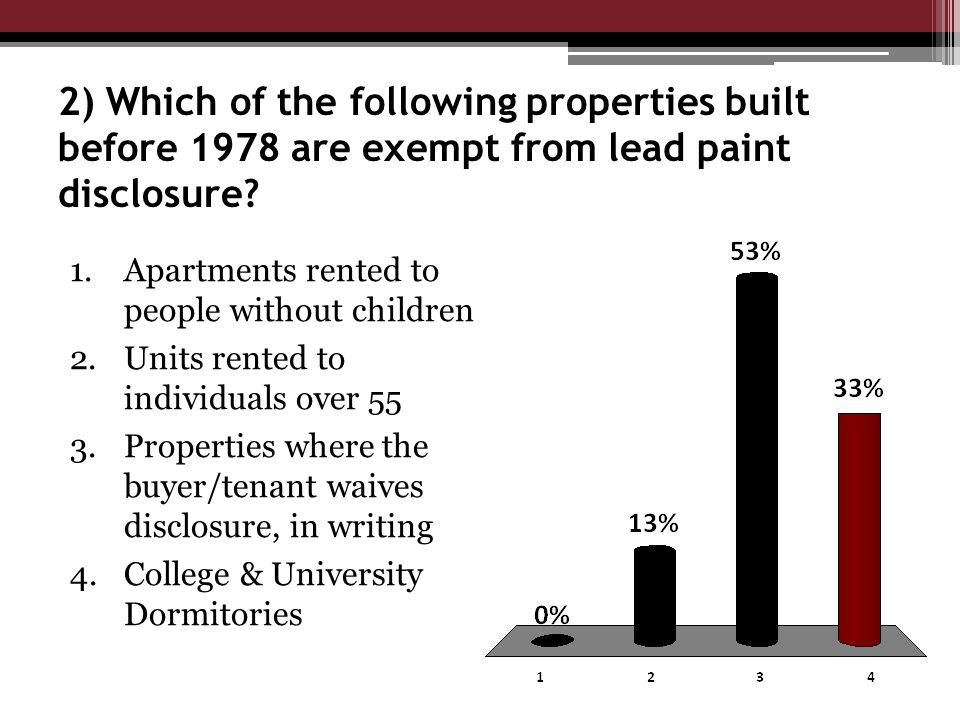 2) Which of the following properties built before 1978 are exempt from lead paint disclosure.