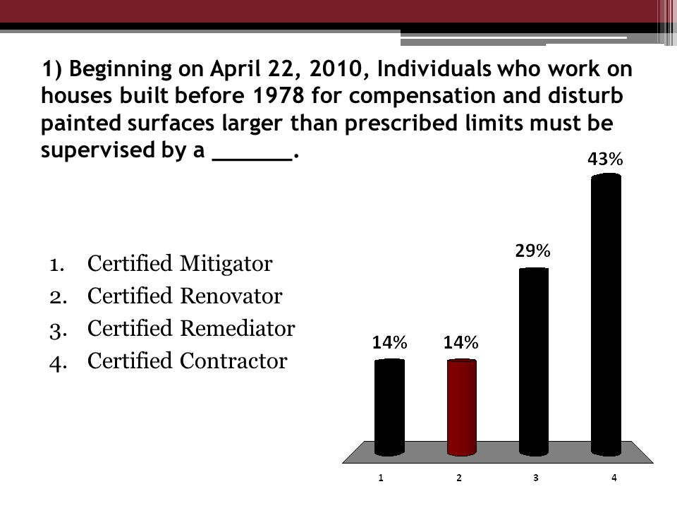 1) Beginning on April 22, 2010, Individuals who work on houses built before 1978 for compensation and disturb painted surfaces larger than prescribed limits must be supervised by a ______.