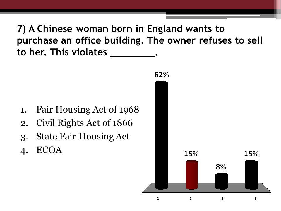 7) A Chinese woman born in England wants to purchase an office building.