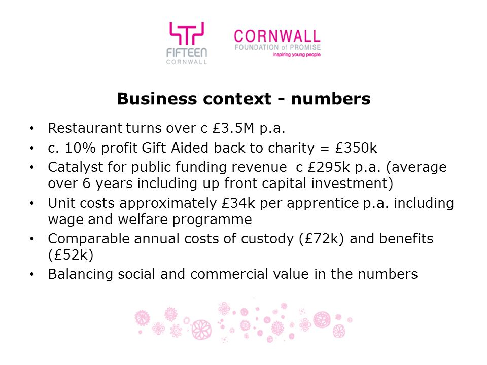 Business context - numbers Restaurant turns over c £3.5M p.a.