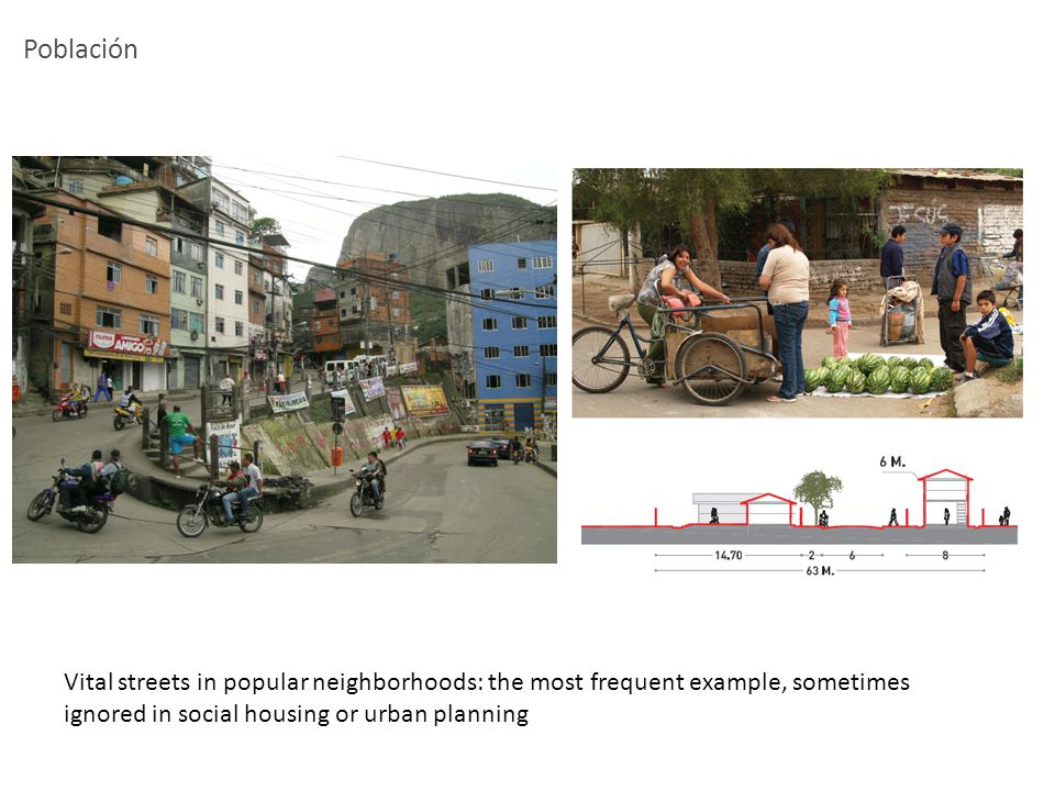 Población Vital streets in popular neighborhoods: the most frequent example, sometimes ignored in social housing or urban planning