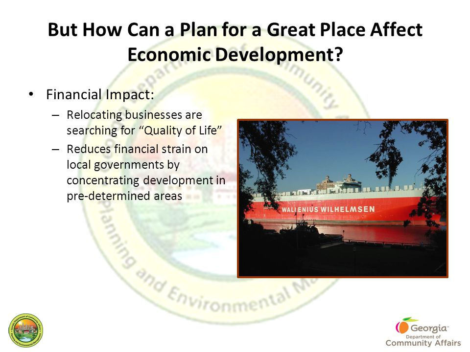 But How Can a Plan for a Great Place Affect Economic Development.