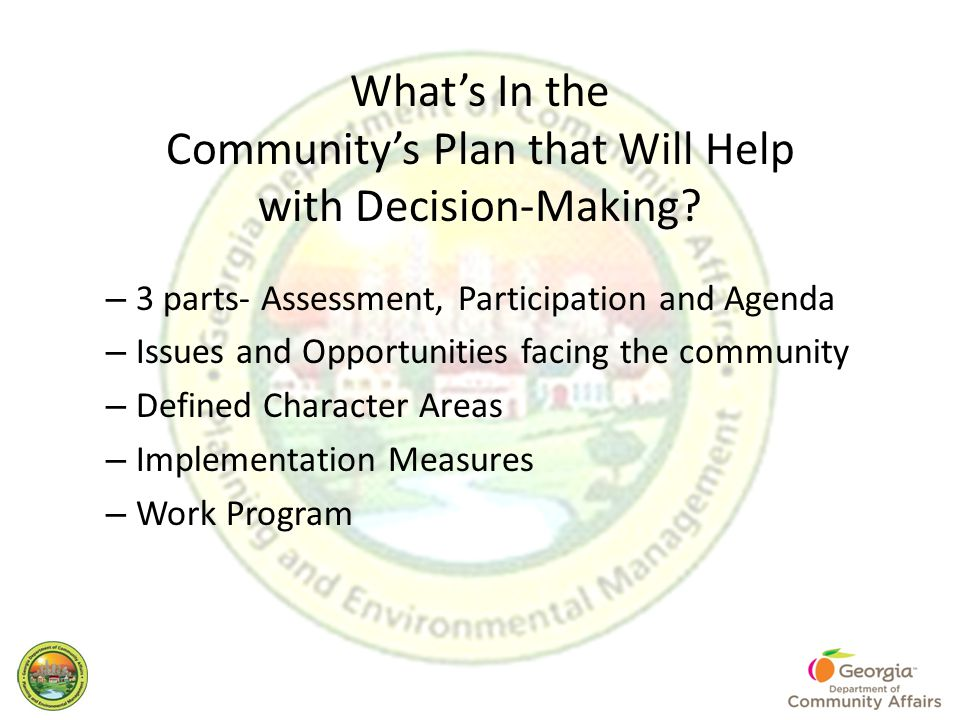 What's In the Community's Plan that Will Help with Decision-Making.