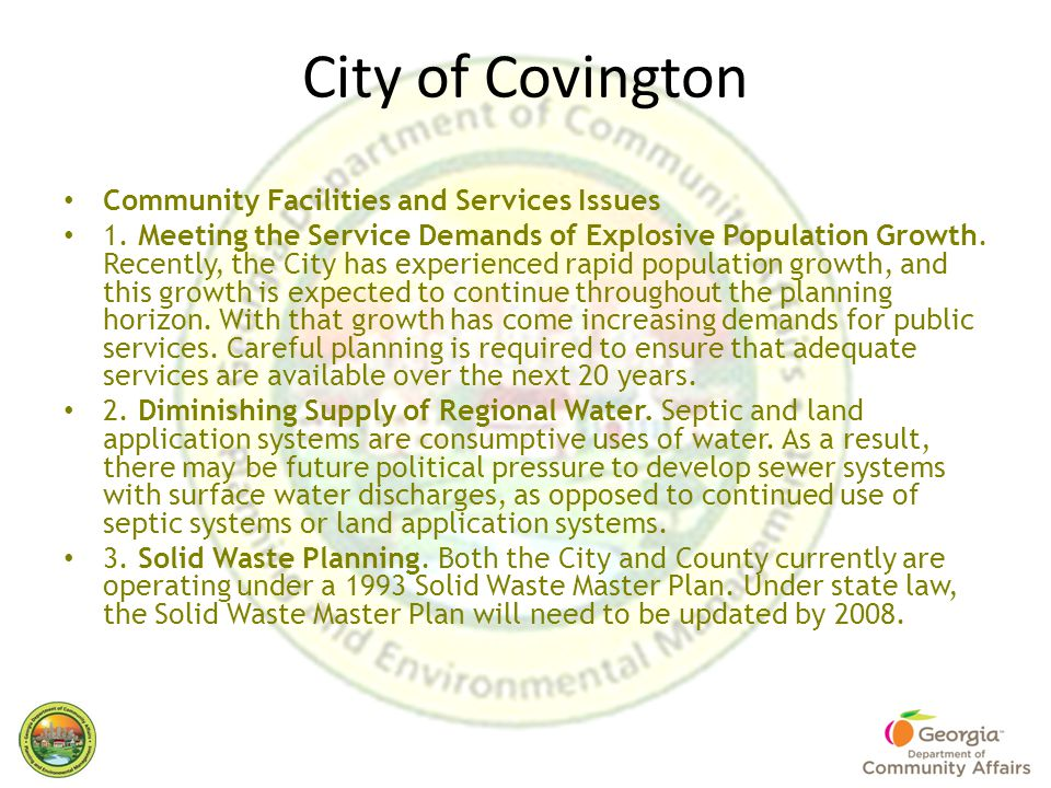 City of Covington Community Facilities and Services Issues 1.