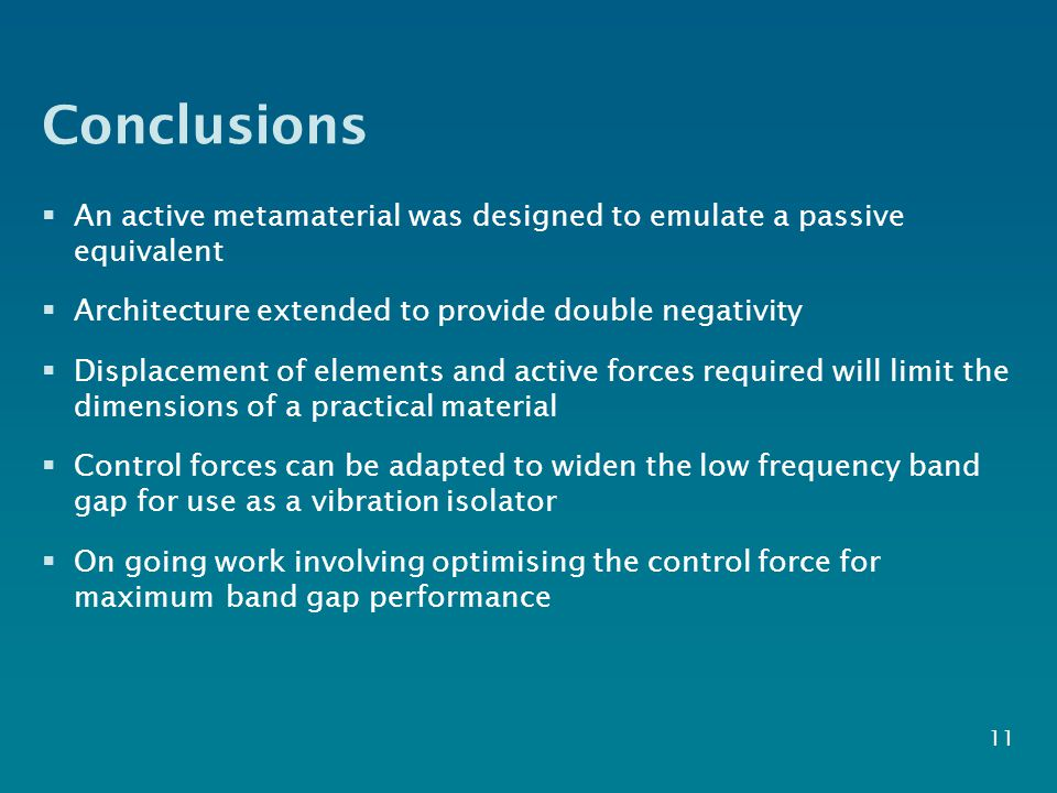 Conclusions  An active metamaterial was designed to emulate a passive equivalent  Architecture extended to provide double negativity  Displacement of elements and active forces required will limit the dimensions of a practical material  Control forces can be adapted to widen the low frequency band gap for use as a vibration isolator  On going work involving optimising the control force for maximum band gap performance 11