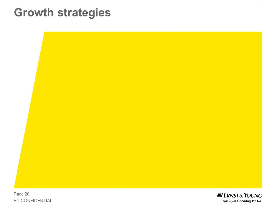 Page 20 EY CONFIDENTIAL Growth strategies