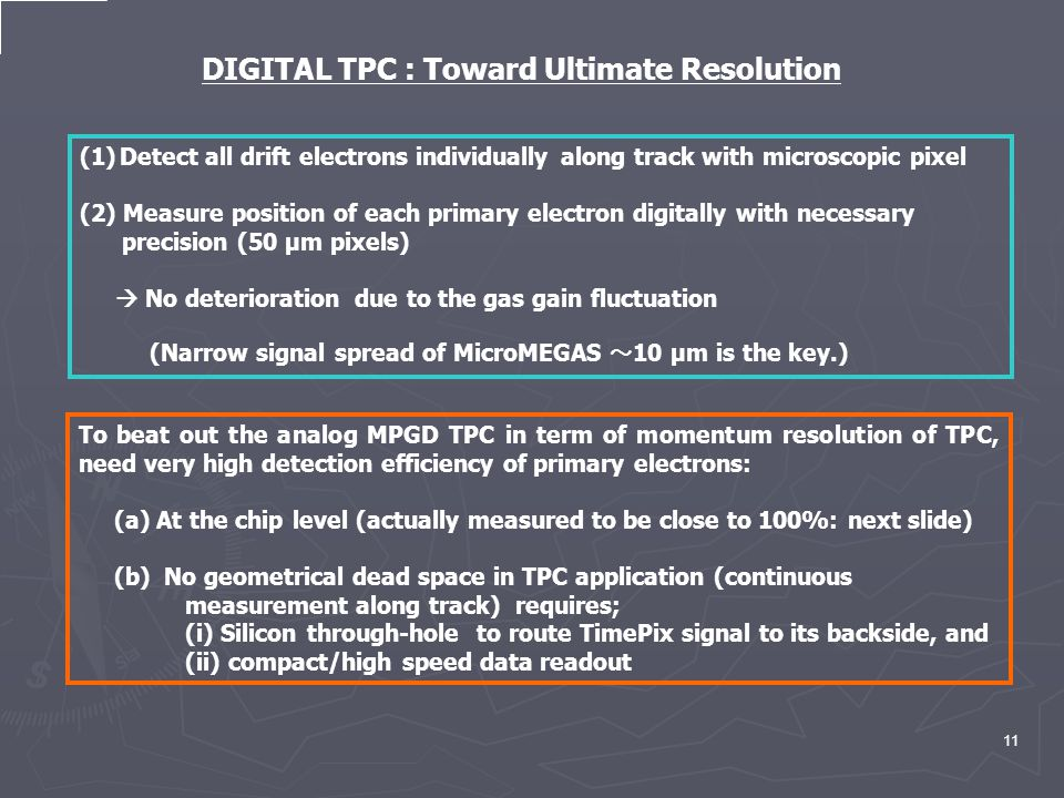 11 DIGITAL TPC : Toward Ultimate Resolution (1)Detect all drift electrons individually along track with microscopic pixel (2) Measure position of each primary electron digitally with necessary precision (50 μm pixels)  No deterioration due to the gas gain fluctuation (Narrow signal spread of MicroMEGAS ~ 10 μm is the key.) To beat out the analog MPGD TPC in term of momentum resolution of TPC, need very high detection efficiency of primary electrons: (a) At the chip level (actually measured to be close to 100%: next slide) (b) No geometrical dead space in TPC application (continuous measurement along track) requires; (i) Silicon through-hole to route TimePix signal to its backside, and (ii) compact/high speed data readout
