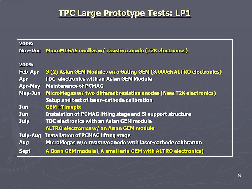 TPC Large Prototype Tests: LP1 2008: Nov-Dec MicroMEGAS modles w/ resistive anode (T2K electronics) 2009: Feb-Apr 3 (2) Asian GEM Modules w/o Gating GEM (3,000ch ALTRO electronics) Apr TDC electronics with an Asian GEM Module Apr-May Maintenance of PCMAG May-Jun MicroMegas w/ two different resistive anodes (New T2K electronics) Setup and test of laser–cathode calibration Setup and test of laser–cathode calibration Jun GEM+Timepix Jun Instalation of PCMAG lifting stage and Si support structure July TDC electronics with an Asian GEM module ALTRO electronics w/ an Asian GEM module ALTRO electronics w/ an Asian GEM module July-Aug Installation of PCMAG lifting stage Aug MicroMegas w/o resistive anode with laser-cathode calibration Sept A Bonn GEM module ( A small aria GEM with ALTRO electronics) 16