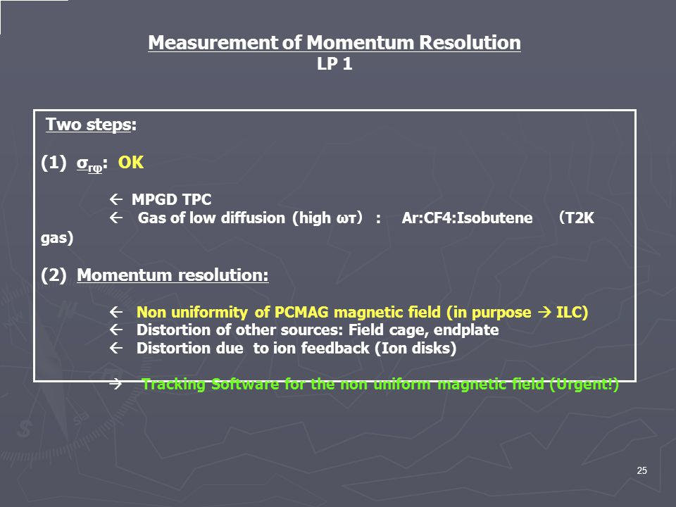 25 Two steps: (1) σ rφ : OK  MPGD TPC  Gas of low diffusion (high ωτ ): Ar:CF4:Isobutene ( T2K gas) (2) Momentum resolution:  Non uniformity of PCMAG magnetic field (in purpose  ILC)  Distortion of other sources: Field cage, endplate  Distortion due to ion feedback (Ion disks)  Tracking Software for the non uniform magnetic field (Urgent!) Measurement of Momentum Resolution LP 1