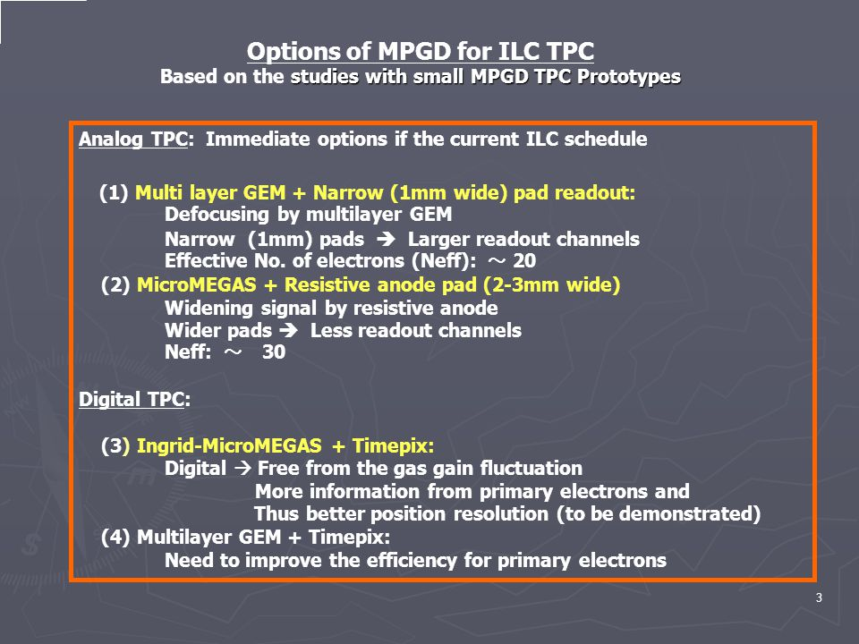 3 Analog TPC: Immediate options if the current ILC schedule (1) Multi layer GEM + Narrow (1mm wide) pad readout: Defocusing by multilayer GEM Narrow (1mm) pads  Larger readout channels Effective No.