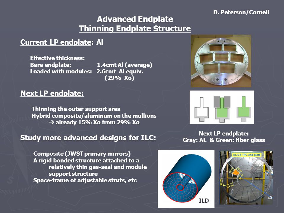 Advanced Endplate Thinning Endplate Structure Current LP endplate: Al Effective thickness: Bare endplate: 1.4cmt Al (average) Loaded with modules: 2.6cmt Al equiv.