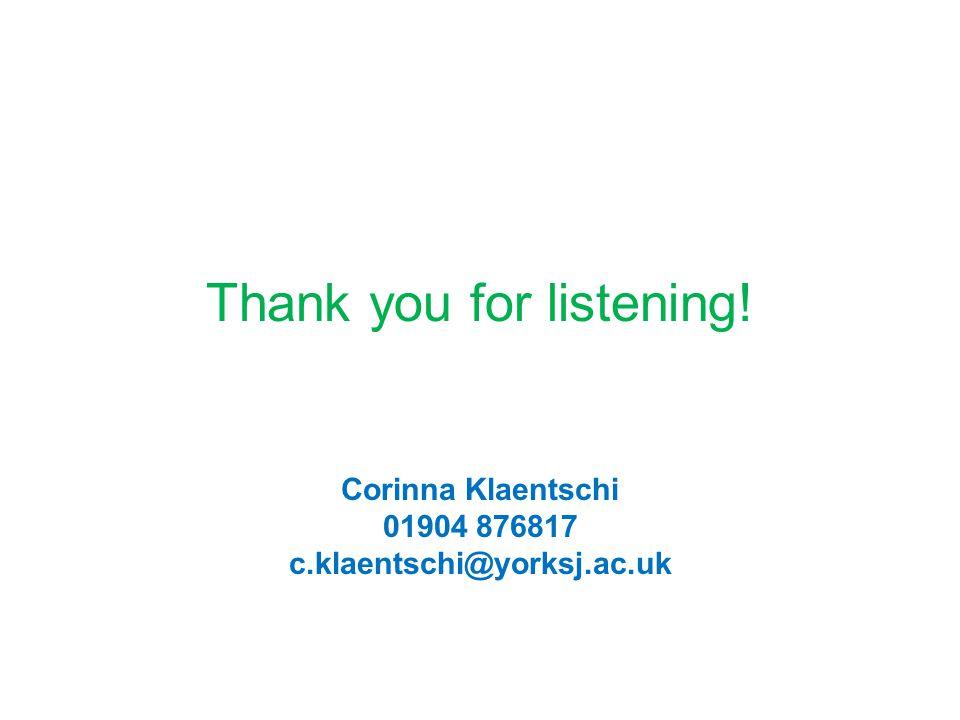 Thank you for listening! Corinna Klaentschi 01904 876817 c.klaentschi@yorksj.ac.uk