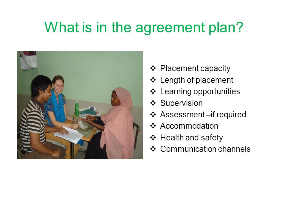 What is in the agreement plan.