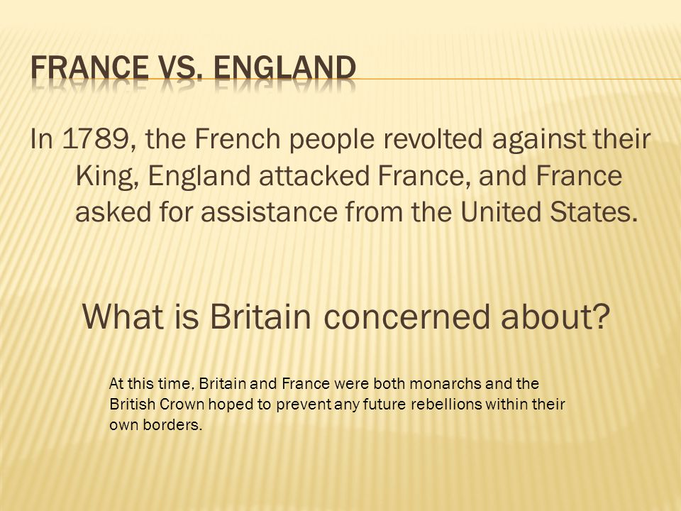 In 1789, the French people revolted against their King, England attacked France, and France asked for assistance from the United States. What is Brita
