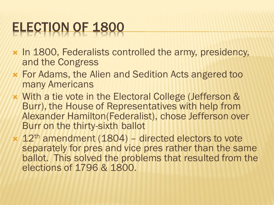  In 1800, Federalists controlled the army, presidency, and the Congress  For Adams, the Alien and Sedition Acts angered too many Americans  With a