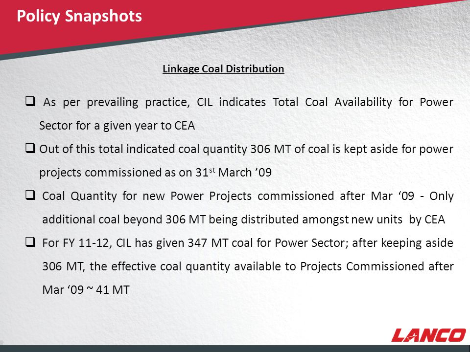 © LANCO Group, All Rights Reserved Linkage Coal Distribution – Contd.