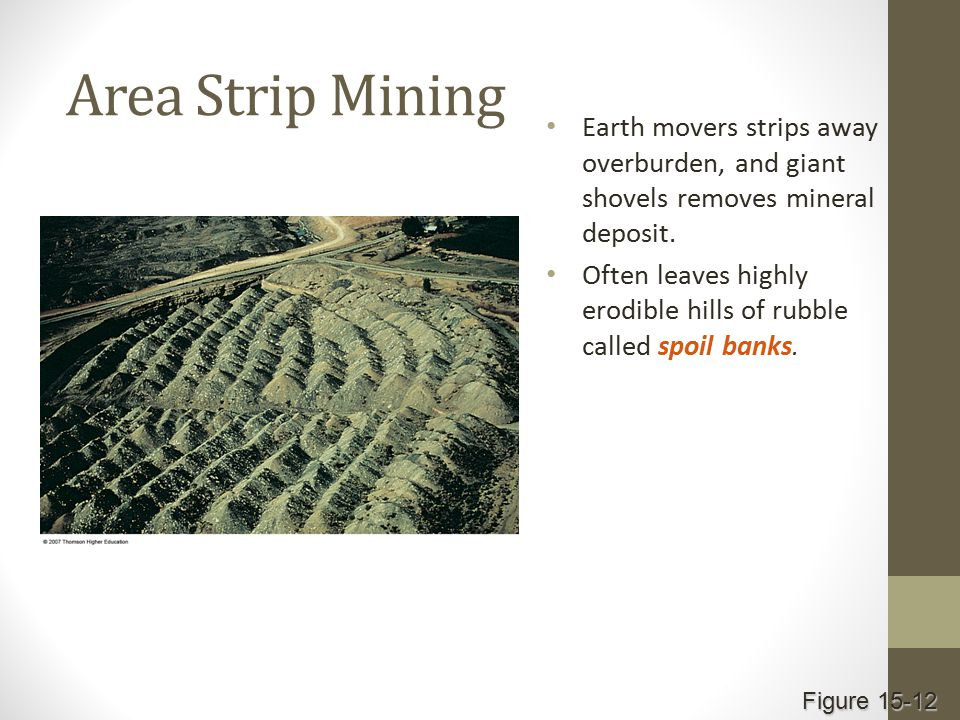 Area Strip Mining Earth movers strips away overburden, and giant shovels removes mineral deposit.