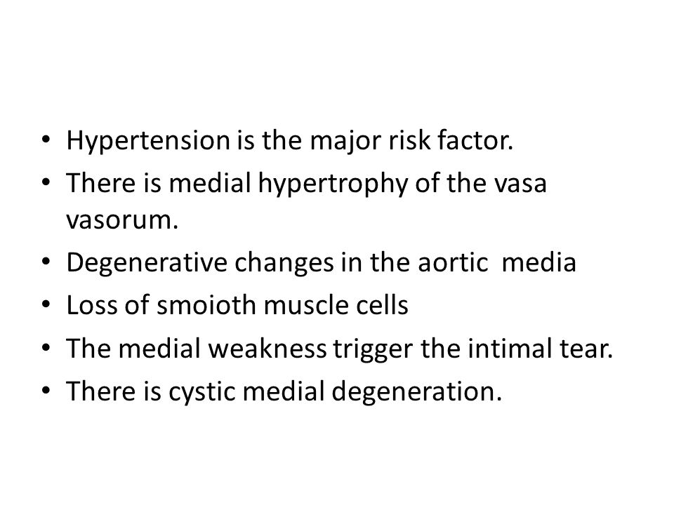 Hypertension is the major risk factor.There is medial hypertrophy of the vasa vasorum.