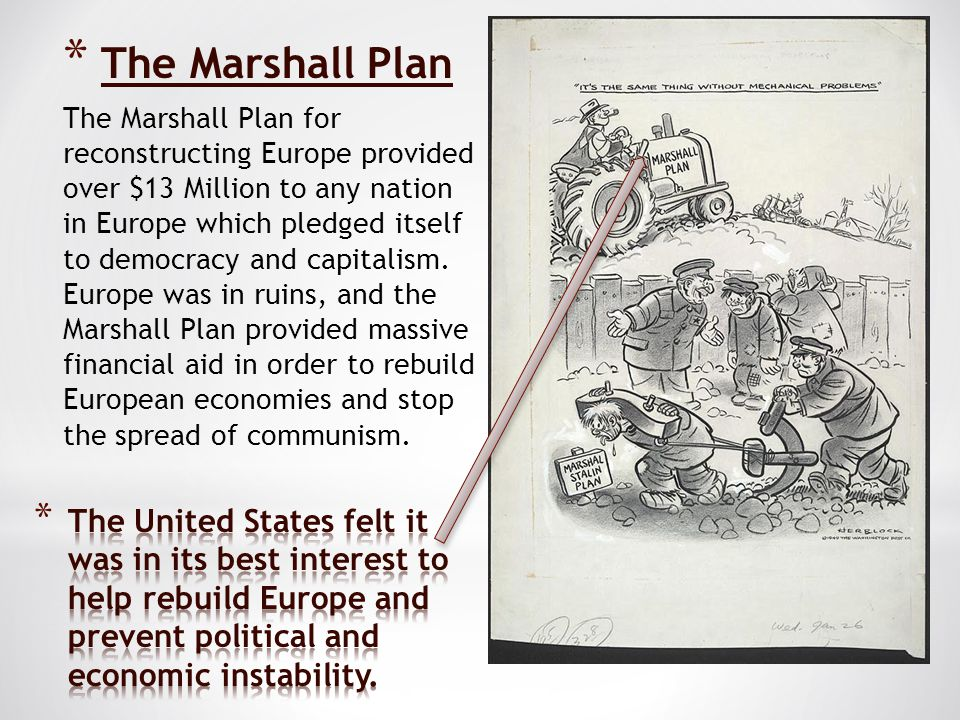 * The Marshall Plan The Marshall Plan for reconstructing Europe provided over $13 Million to any nation in Europe which pledged itself to democracy and capitalism.
