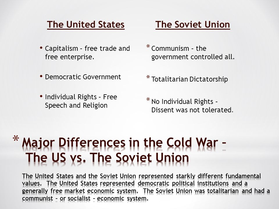 The United States Capitalism – free trade and free enterprise. Democratic Government Individual Rights – Free Speech and Religion The Soviet Union * C