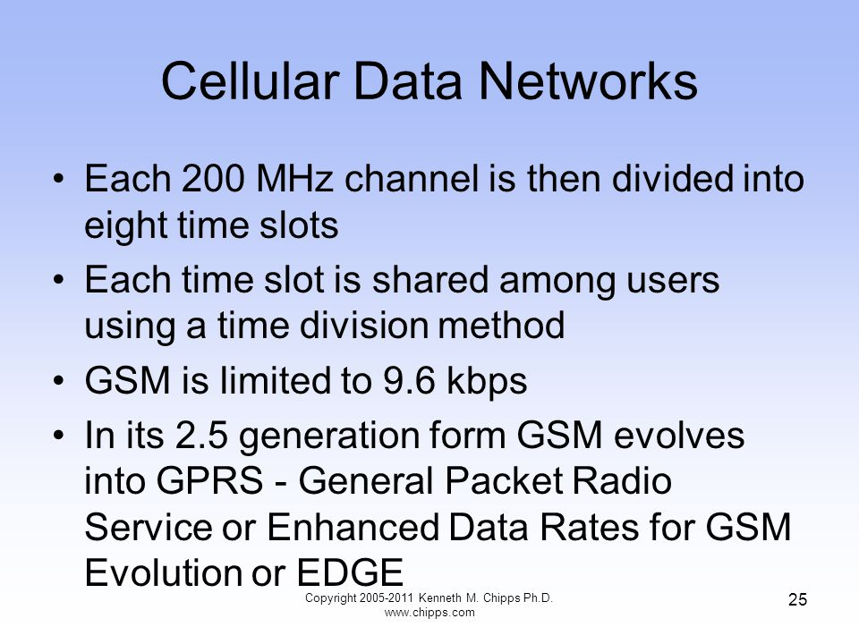 Cellular Data Networks Each 200 MHz channel is then divided into eight time slots Each time slot is shared among users using a time division method GSM is limited to 9.6 kbps In its 2.5 generation form GSM evolves into GPRS - General Packet Radio Service or Enhanced Data Rates for GSM Evolution or EDGE Copyright 2005-2011 Kenneth M.