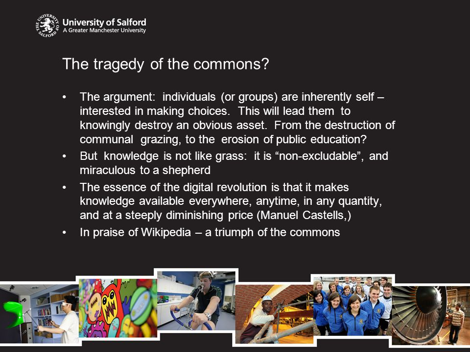 Open Education Resources: the new Public University The core: Open Access Repository: research, resources, open data Revenue generation; from added value, rather than from rents and tolls (Open Access publishing) Public finance to facilitate access (as with other forms of infrastructure) rather than to tax future earnings New learning technologies to widen opportunity and deepen quality