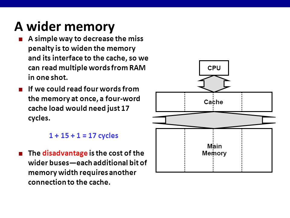 A wider memory A simple way to decrease the miss penalty is to widen the memory and its interface to the cache, so we can read multiple words from RAM in one shot.
