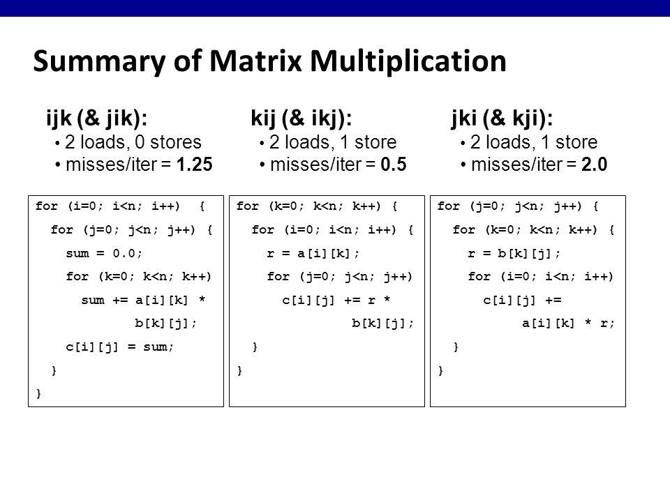 Summary of Matrix Multiplication for (i=0; i<n; i++) { for (j=0; j<n; j++) { sum = 0.0; for (k=0; k<n; k++) sum += a[i][k] * b[k][j]; c[i][j] = sum; } ijk (& jik): 2 loads, 0 stores misses/iter = 1.25 for (k=0; k<n; k++) { for (i=0; i<n; i++) { r = a[i][k]; for (j=0; j<n; j++) c[i][j] += r * b[k][j]; } for (j=0; j<n; j++) { for (k=0; k<n; k++) { r = b[k][j]; for (i=0; i<n; i++) c[i][j] += a[i][k] * r; } kij (& ikj): 2 loads, 1 store misses/iter = 0.5 jki (& kji): 2 loads, 1 store misses/iter = 2.0