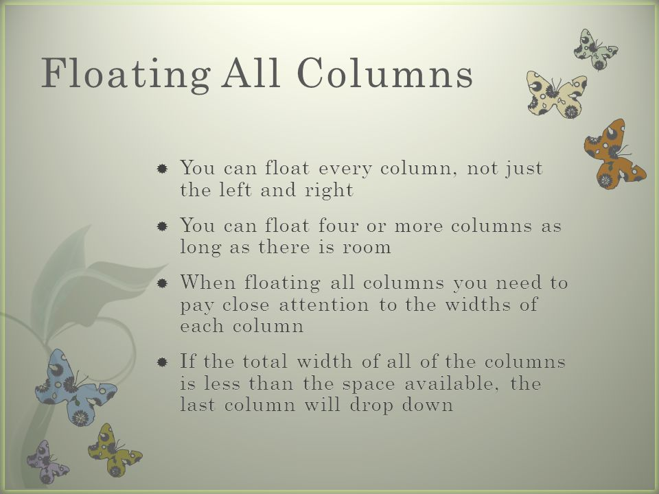 Floating All Columns