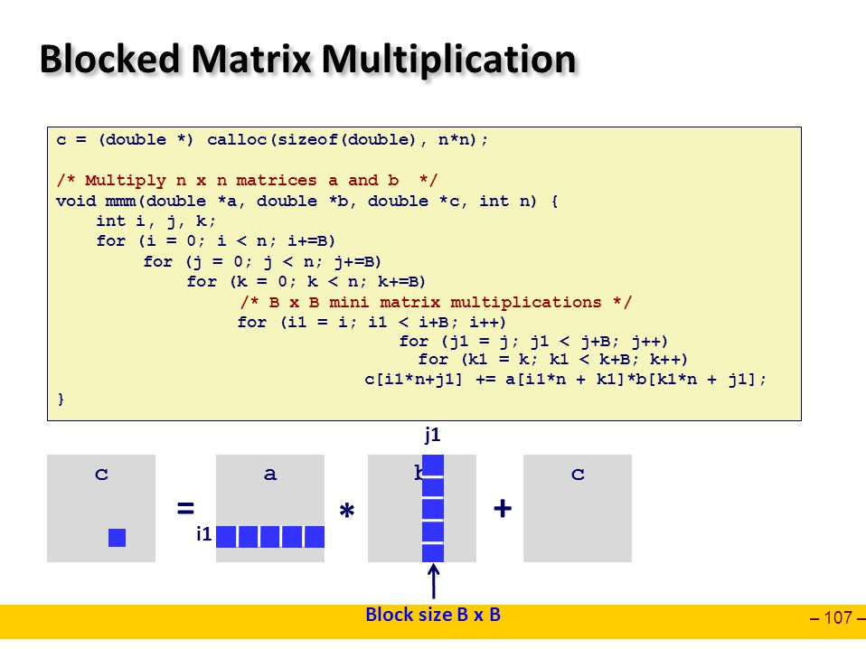– 107 – Blocked Matrix Multiplication c = (double *) calloc(sizeof(double), n*n); /* Multiply n x n matrices a and b */ void mmm(double *a, double *b,
