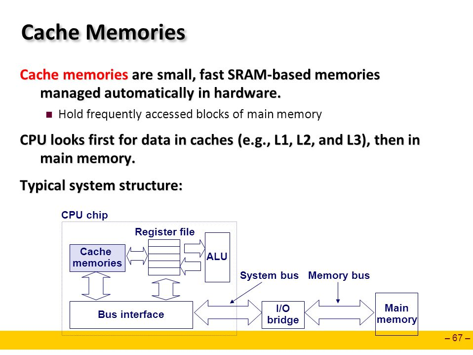 – 67 – Cache Memories Cache memories are small, fast SRAM-based memories managed automatically in hardware. Hold frequently accessed blocks of main me
