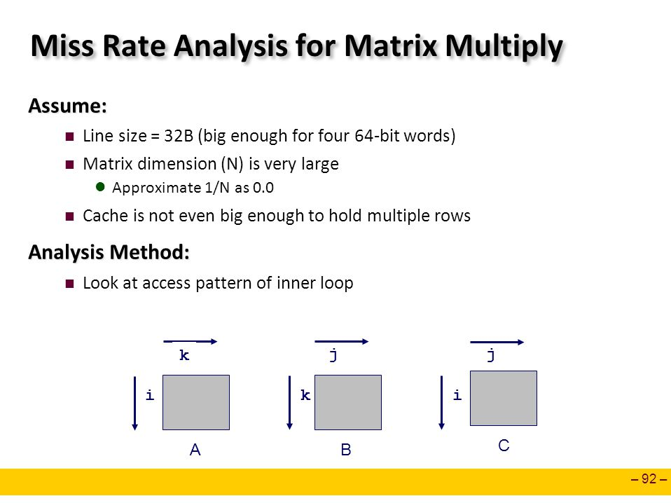 – 92 – Miss Rate Analysis for Matrix Multiply Assume: Line size = 32B (big enough for four 64-bit words) Matrix dimension (N) is very large Approximat