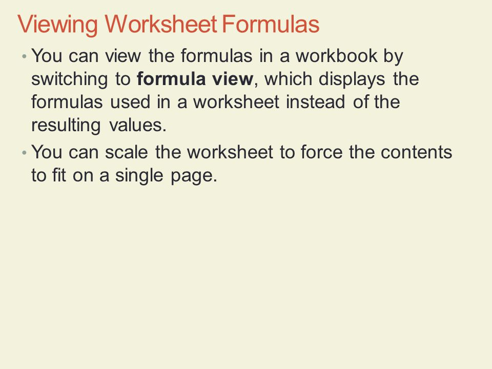 You can view the formulas in a workbook by switching to formula view, which displays the formulas used in a worksheet instead of the resulting values.