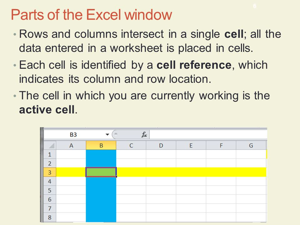 Rows and columns intersect in a single cell; all the data entered in a worksheet is placed in cells.