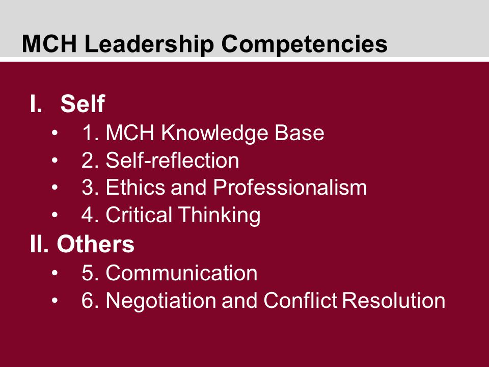 MCH Leadership Competencies I.Self 1. MCH Knowledge Base 2.
